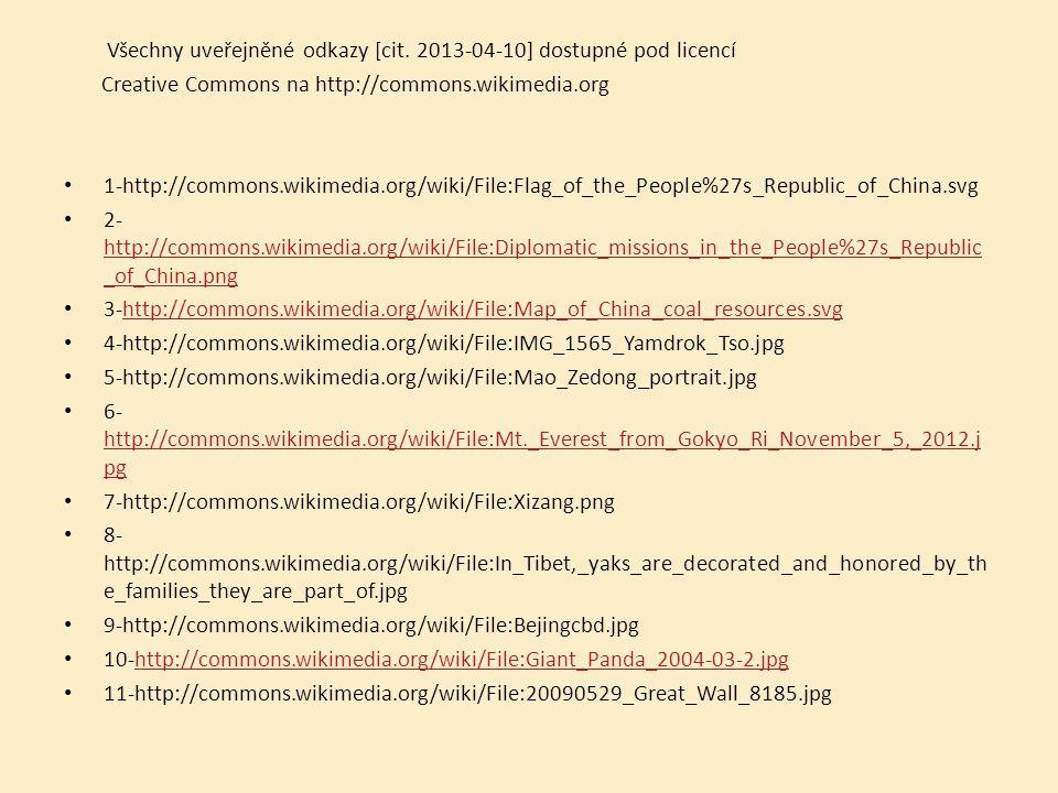 Všechny uveřejněné odkazy [cit. 2013-04-10] dostupné pod licencí